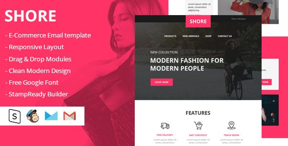 Shore Html Email Template By Designcrazzy Shore Is For E Commerce