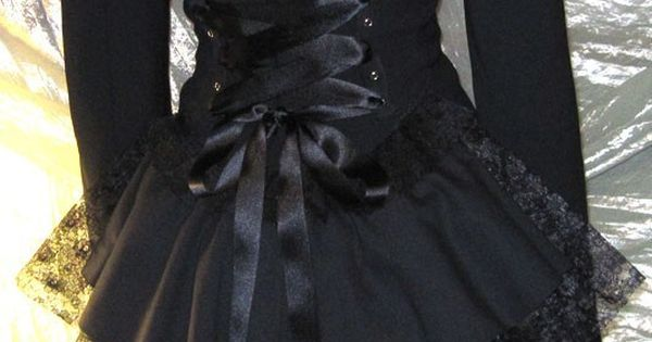 Black Victorian Bustle Jacket Coat Goth Lolita Vampire Steampunk Cosplay DIY 14/16