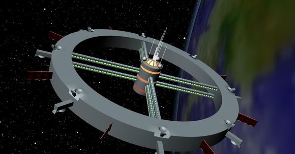Wheel shaped space colony spacestations future outer for Outer space design australia
