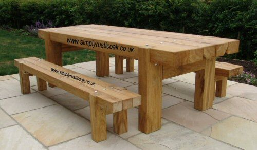 Rustic Oak Large Contemporary Garden Bench Garden Table Wooden Outdoor Table Rustic Kitchen Tables