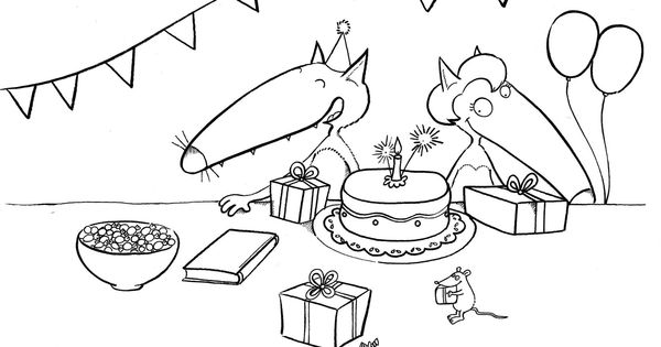 Un coloriage d 39 anniversaire le loup pinterest school core french and activities - Coloriage de loups ...