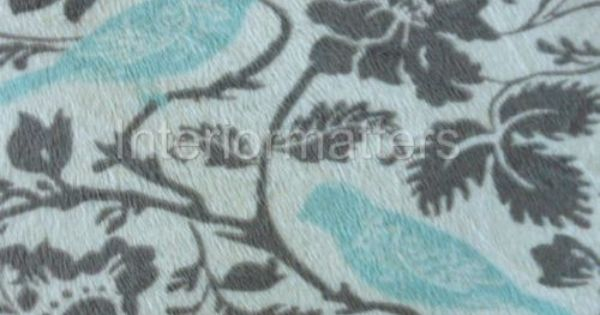Thro Marlo Lorenz Aqua Bird Grey Floral Throw Blanket