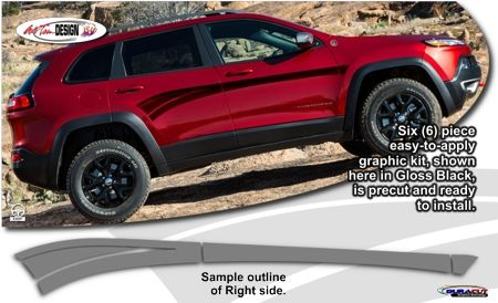 Jeep Cherokee Graphic Kits From Auto Trim Design That Are Precut Easy To Install And Look Great When Installed Jeep Cherokee New Jeep Cherokee Jeep