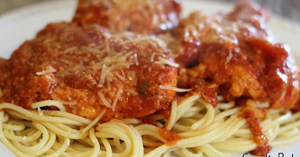 "Crock Pot Chicken Parmesan. Pinner says: ""This recipe tastes INCREDIBLE and is"