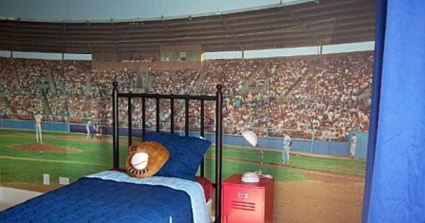 Baseball stadium wall mural baseball nursery ideas for Baseball field wall mural