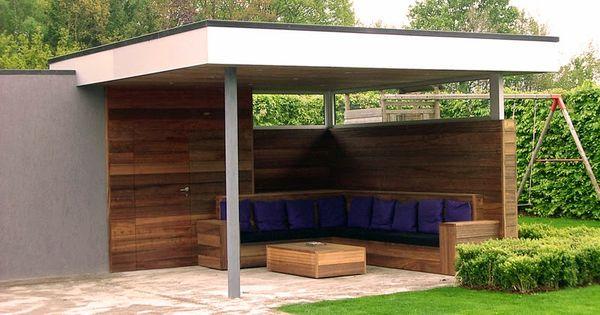 Zithoek tuin ide en pinterest luifel terrasoverkapping en zithoek for Overdekt terras model