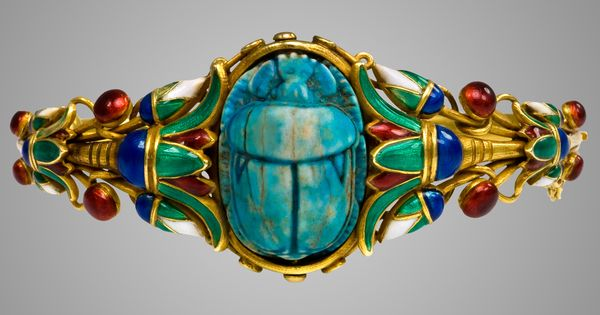 An Egyptian Revival Style Gold And Enamel Scarab Bracelet