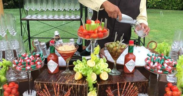 Bacon wrapped swizzle sticks at the Bloody Mary Bar   Pool ...