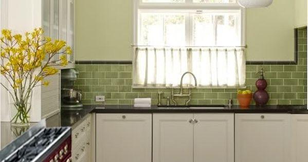 Sage green glass subway tile kitchen with quartz for Brushed sage kitchen cabinets