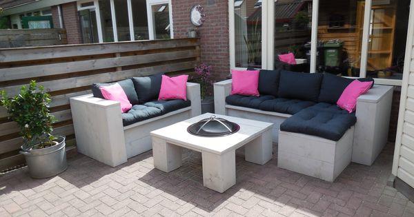 Lounge set tafel met vuurkorf jgsteigerhout steigerhout pinterest tuin - Opslag idee lounge ...