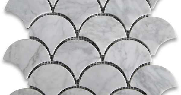 Carrara White Grand Fish Scale Fan Shaped Mosaic Tile