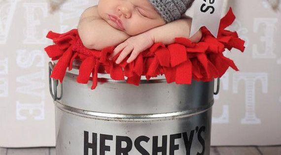 Valentine's Day Hershey Kiss Baby Photo