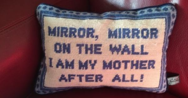 Needlepoint Pillow Mirror Mirror On The Wall I Am My Mother After All Blue Pillows Mirror Wall Needlepoint Pillows