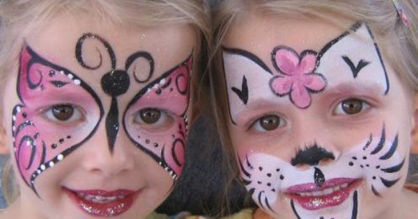 very pretty kitty cat and butterfly face painting designs fun for the kids pinterest. Black Bedroom Furniture Sets. Home Design Ideas