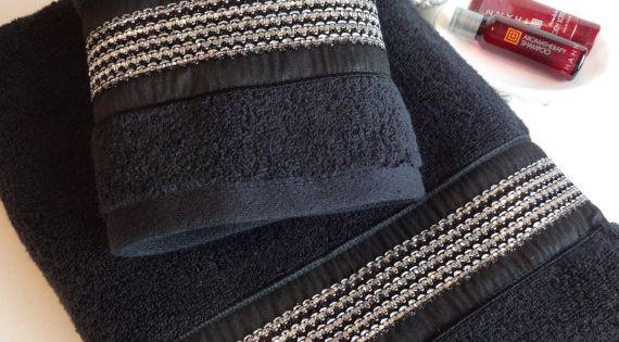 Black And Silver Rhinestone Towels Black Towel Bath