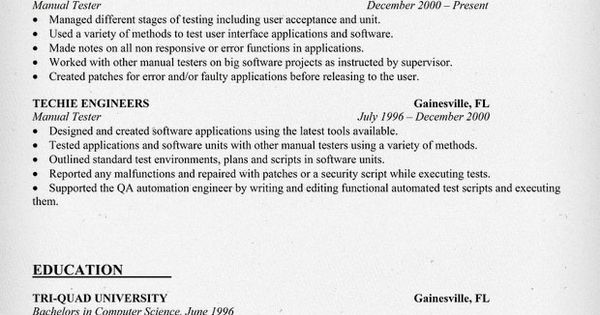 resume  resume examples and software testing on pinterest
