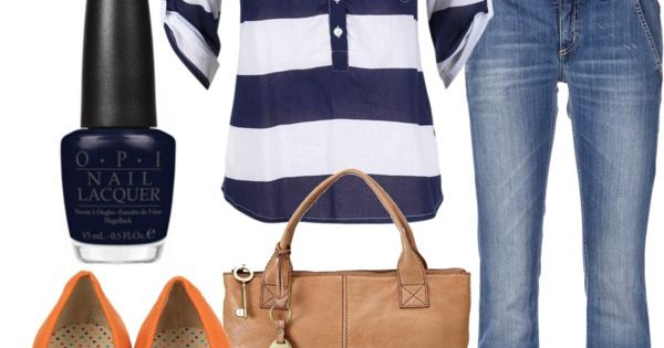 Casual Outfit; love the navy & white wide stripes with the pop