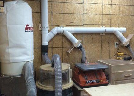 Hand made blast gates, upgraded dust collection Garage