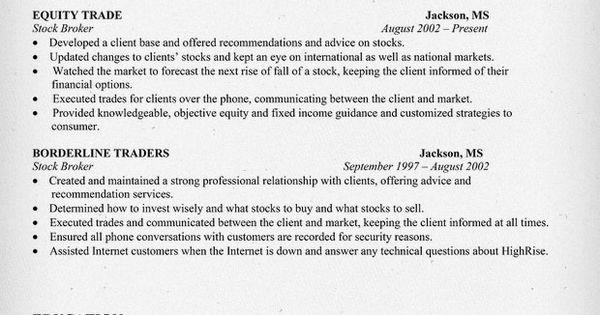 stock broker resume sle resume sles across all