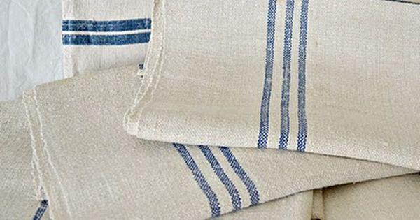 Vintage Blue Stripe Linen Kitchen Towels The White