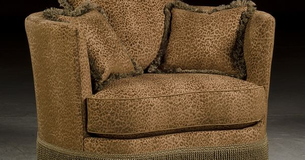 Leopard Print Swivel Barrel Chair Luxury Upholstered