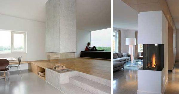48 chimeneas modernas para la separaci n de espacios - Chimenea piso pequeno ...