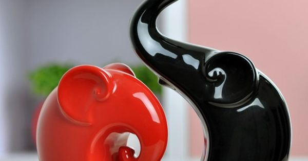 Free Shipping Ceramic Elephant Home Furniture Table Desk Office Decor Decoration Red Black 23