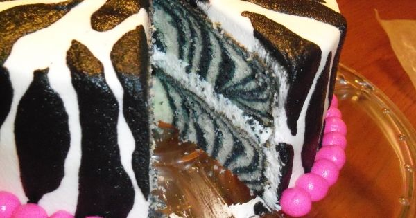 how to Zebra cake: Divide batter in half & use food coloring