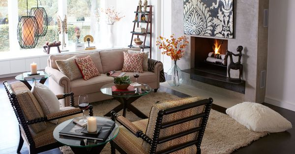Comfortable and inviting living room camel and espresso for Pier 1 living room chairs