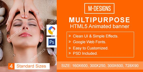 Multipurpose Html5 Banner Ad Templates By Anil29design Very Easy To Edit And Detailed Help File Is Included Google Fonts Banner Ads Animated Banner Ads Banner