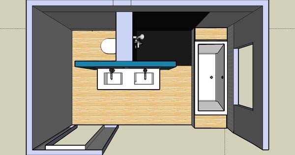 Leuk idee voor de indeling van onze badkamer badkamer pinterest beautiful dubbele - Amenager badkamer ...