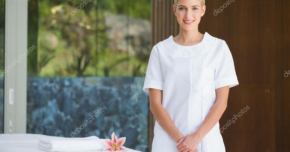 Beauty Therapist Beside Massage Towel Stock Photo Sponsored Massage Therapist Beauty Photo Ad In 2020 Beauty Therapist Masseuse Professional Massage