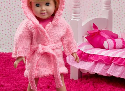 Red Heart Free Knitting Patterns For Dolls : Doll Robe and Bunny Slippers Free Knitting Pattern from ...
