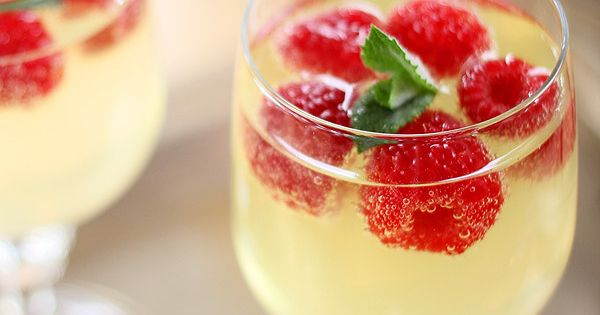 Limoncello and Prosecco Cooler with Raspberry Ice 'Cubes' by creative-culinary Limoncello Prosecco