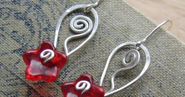Glass flowers, Red glass and Flower earrings on Pinterest
