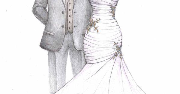 Wedding Dress Sketch Gift: Satin Ruched Bodice Mermaid Wedding Dress Sketch With