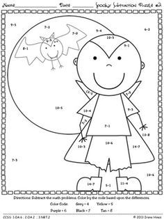 Math Halloween Coloring Worksheets Google Search Halloween Math Math Printables Halloween Subtraction