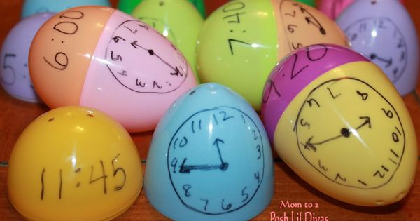 Use Easter eggs to practice time.