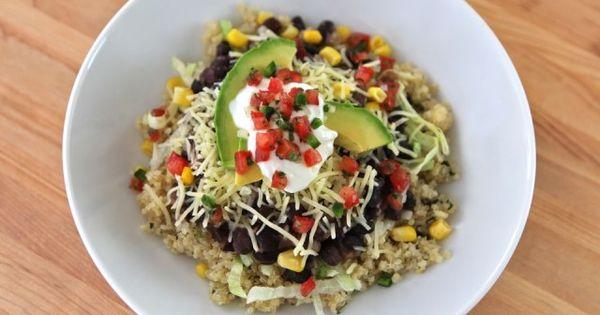 Quinoa Black Bean Burrito Bowls - Simple Healthy Recipe- just add chicken