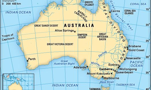 ENS25 Locates and names the capital city of Australia and of each – Australia Full Map