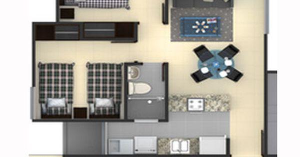 Plano de departamento peque o 30 m2 planos de casas for Planos apartamentos pequenos