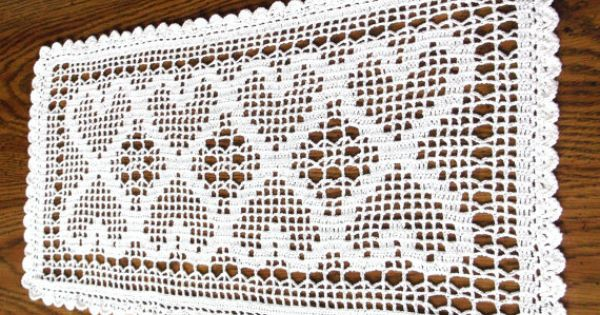 Crochet Heart Doily Runner Crocheted Valentine Heart By