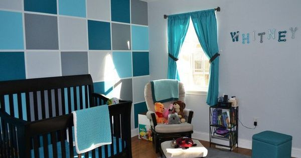Deco Chambre Bebe Mur Carreax Bleu Turquoise Bleu Petrole Gris