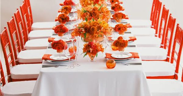 Beautiful Tangerine table setting