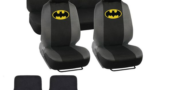 classic batman seat covers floor mats set 13pc universal fit licensed interior accessories. Black Bedroom Furniture Sets. Home Design Ideas
