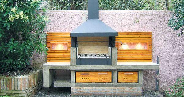 Asador de ladrillo y madera jard n pinterest for Asadores de jardin de ladrillo