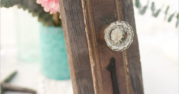weekend DIY antique doorknob table numbers