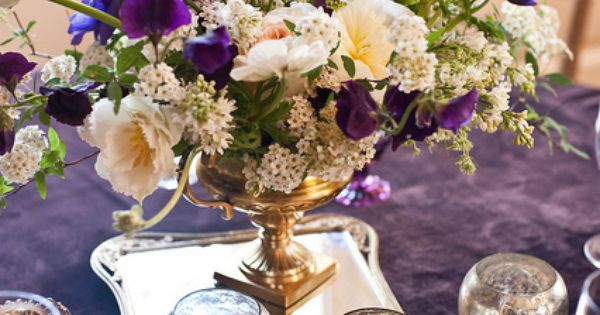 dark purple centerpieces.. Want to use silver trays.. have couple silver coasters