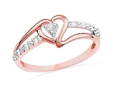 Diamond Accent Heart Promise Ring in 10K Rose Gold
