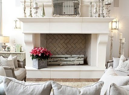 Living room with faux fireplace...